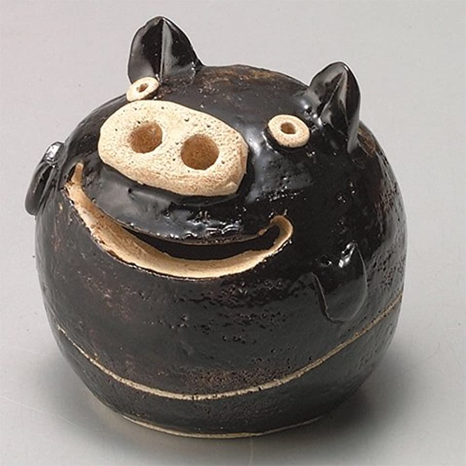 食物政治的冷笑する香炉 ぶた君 香炉(黒) [H9cm] HANDMADE プレゼント ギフト 和食器 かわいい インテリア