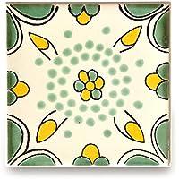 【B'stile】絵画のような壁タイル「メキシコタイル」M116-4(陶器質|100mm角|屋外壁/屋内壁用)1枚