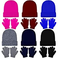 Cooraby 6 Pack Beanies Hats and 6 Pairs Stretchy Full Fingers Gloves for Boys Girls