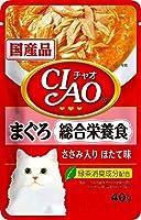 CIAO(チャオ) パウチ 総合栄養食 まぐろ ささみ入り ほたて味 40g×16袋【まとめ買い】