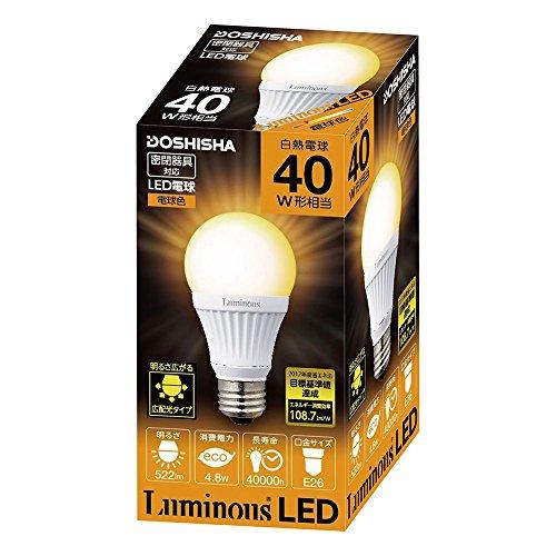 ルミナス LED電球 口金直径26mm 40W相当 電球色 ...