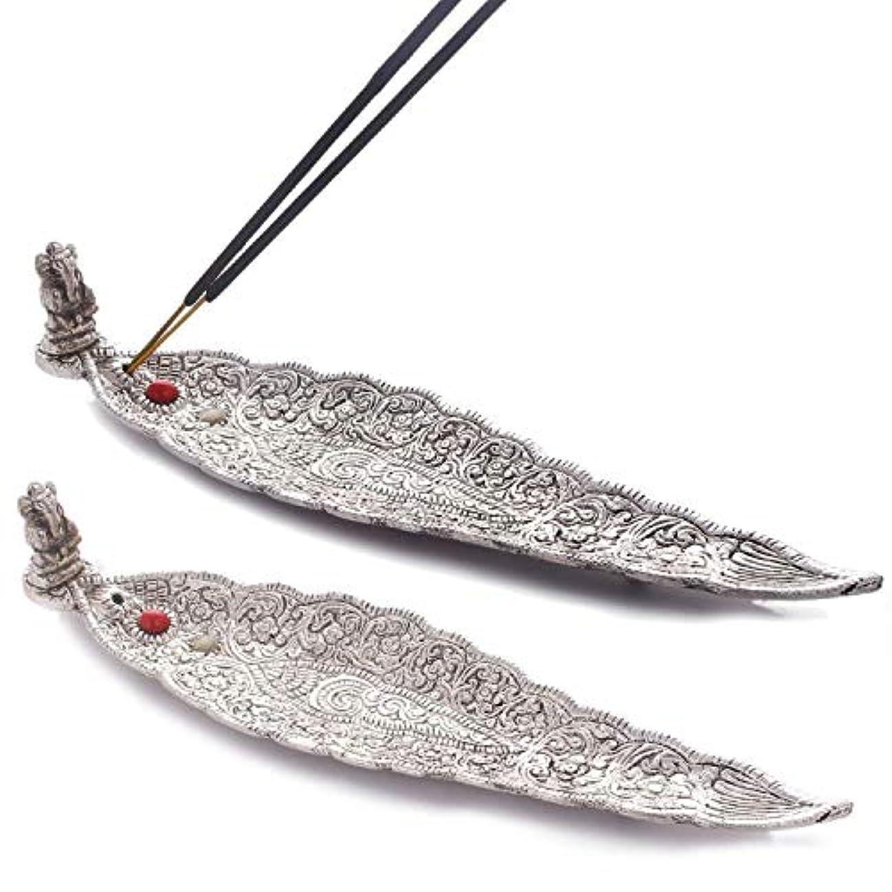 残り神学校回復Crafticia Oxidized White Silver Metal Incense Holder (Agarbatti Stand) Set of 2