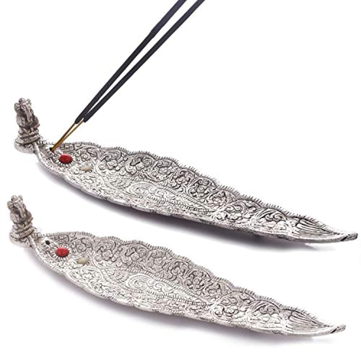 アラバマ裁量便宜Crafticia Oxidized White Silver Metal Incense Holder (Agarbatti Stand) Set of 2