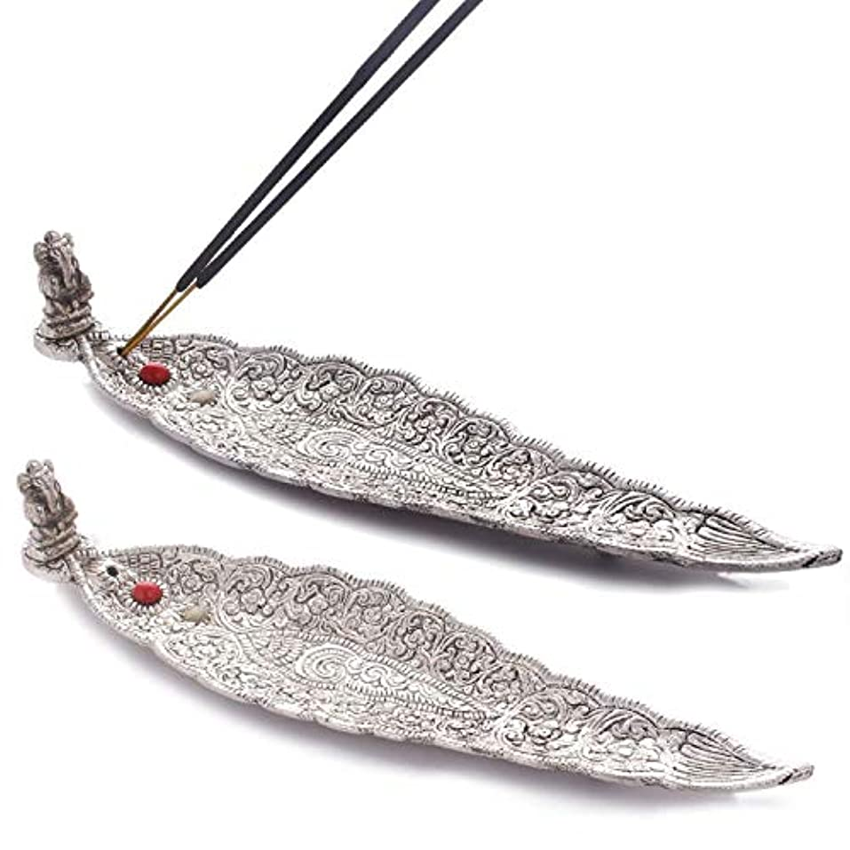 受付仕える散らすCrafticia Oxidized White Silver Metal Incense Holder (Agarbatti Stand) Set of 2