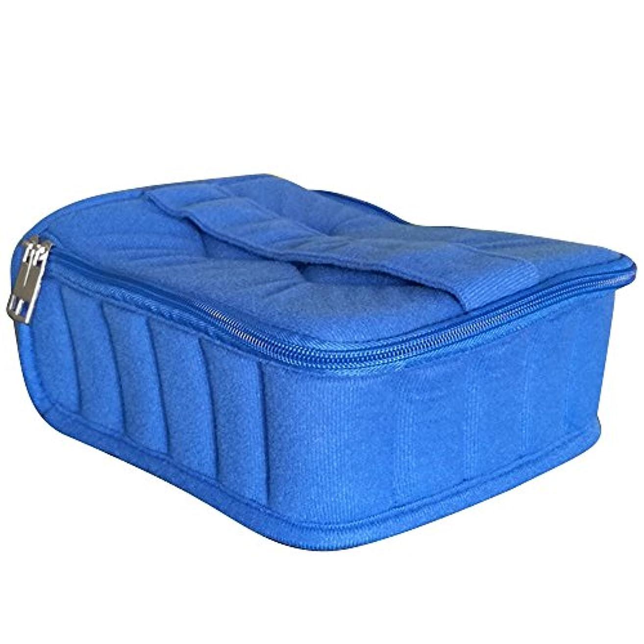 ボア構造的タッチゴシレ Gosear 30 格子 ポータブル ショック抵抗力 本質 ストレージ 旅行 運ぶ ケース ホルダー バッグ ため 5 ml 10 ml 15 ml ボトル 青色