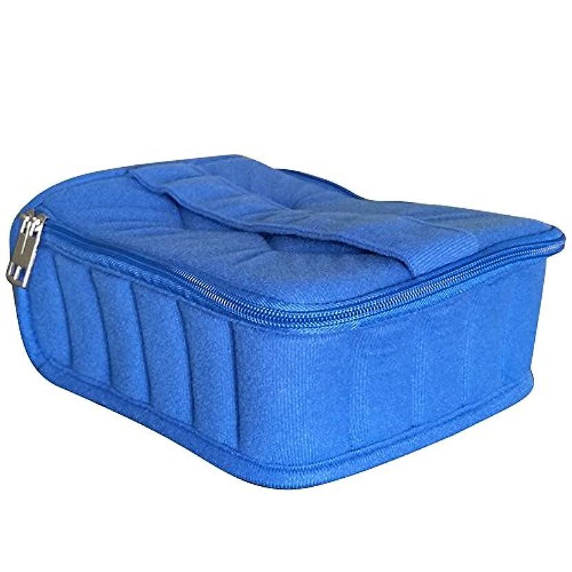 魅惑的なの中で精神的にゴシレ Gosear 30 格子 ポータブル ショック抵抗力 本質 ストレージ 旅行 運ぶ ケース ホルダー バッグ ため 5 ml 10 ml 15 ml ボトル 青色