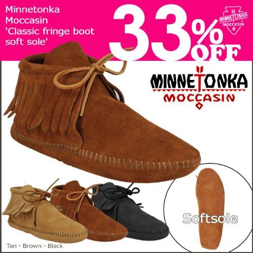 (ミネトンカ)MINNETONKA 489 CLASSIC FRINGE BOOT クラシック フリンジ ブーツ US7(約23.5-24.0cm) Black(489)(並行輸入品)