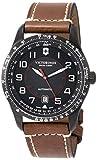 [ビクトリノックス・スイスアーミー] 腕時計 AIRBOSS ブラックPVD加工ステンレススチールケース(316L) ブラックダイヤル ブラウンレザーストラップ 241821 メンズ 正規輸入品 ブラウン