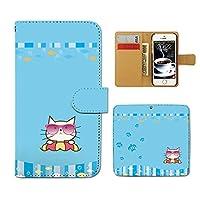 Tiara ZenFone Go ZB551KL スマホケース 手帳型 夏 海 猫 ネコ ねこ サングラス 手帳ケース カバー [F023302_04]