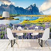 Clamsxgus 3D自然の壁紙風景紫の花の壁壁画リビングルームの壁紙家の装飾寝室の絵-250X175Cm