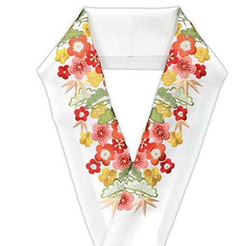 刺繍半衿【白地に赤.黄.橙 レトロ松竹梅尽くし 13463】日本製 シルエリー 振袖 袴