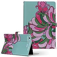 igcase dtab Compact d-02K docomo ドコモ タブレット 手帳型 タブレットケース タブレットカバー カバー レザー ケース 手帳タイプ フリップ ダイアリー 二つ折り 直接貼り付けタイプ 008127 フラワー 花 フラワー ピンク 水色 イラスト