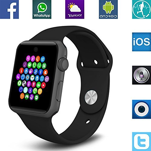 Banaus BS19 Newest SmartWatch with Bluetooth 4.0 Support SIM Watch Phone for Android Samsung Galaxy S4/S5/S6/S7/Note3/Note4/Note5/Note6 HTC Sony LG Xiaomi Huawei ZUK and iPhone 5/5C/5S/6/6S Black [並行輸入品]
