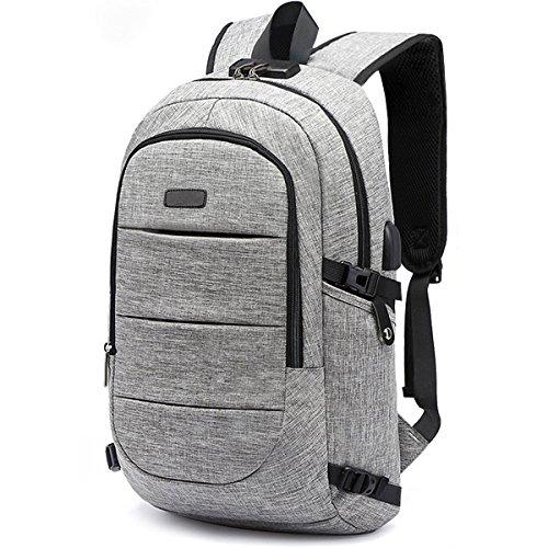 DesCanon ラップトップバックパック USB充電ポート搭載 15.6インチPCバッグ 盗難防止 リュック ビジネスリュック 大容量 リュックサック 男女兼用 通勤 高校生—改良版