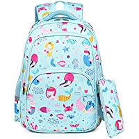 New Cartoon Children Schoolbag, 6-12 Years Old Boy Girl Light Breathable Comfortable Schoolbag, Waterproof Nylon School Bag with Reflective Strip, Pencil Bag,Blue