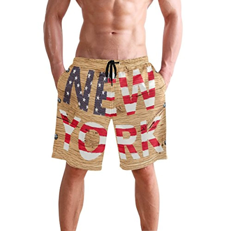 VAWA 水着 メンズ サーフパンツ おしゃれ ニューヨーク 英字柄 欧米風 ビーチパンツ 海水パンツ 短パン 吸汗速乾 大きいサイズ 水陸両用