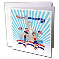 Belinha Fernandes–Celebrate 7月4–American Boy with Tall帽子Celebrating Independence Day withアメリカ国旗とバルーン–グリーティングカード Set of 6 Greeting Cards