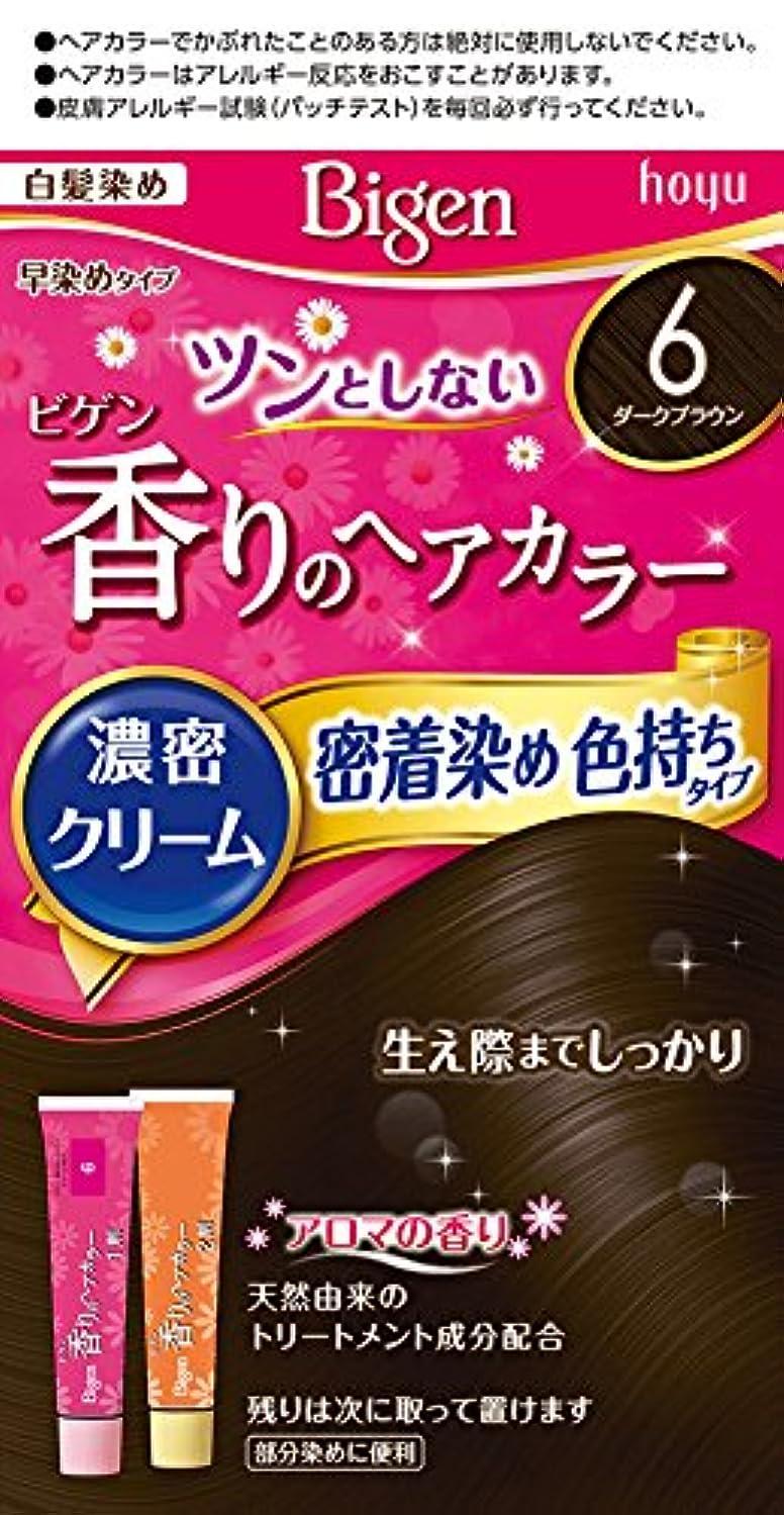 終了しました田舎アプライアンスホーユー ビゲン香りのヘアカラークリーム6 (ダークブラウン) 1剤40g+2剤40g [医薬部外品]