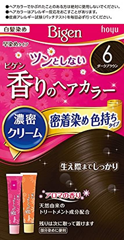 イライラする決めます賞賛ホーユー ビゲン香りのヘアカラークリーム6 (ダークブラウン) 1剤40g+2剤40g [医薬部外品]