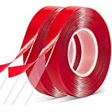 """Double Sided Tape Heavy Duty - 3/4""""10' Acrylic Clear Strong Adhesive Waterproof Removable Double Sided Mounting Tape for Carp"""