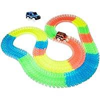fidgetfidgetマジックトラックTwister Car RacingトラックGlow in the Darkブロックセット光の子供スタイル: 100個with a車