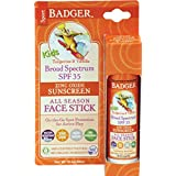 Badger Company, Kids Sport Sunscreen All Season Face Stick, SPF 35, Tangerine & Vanilla, .65 oz (18.4 g)