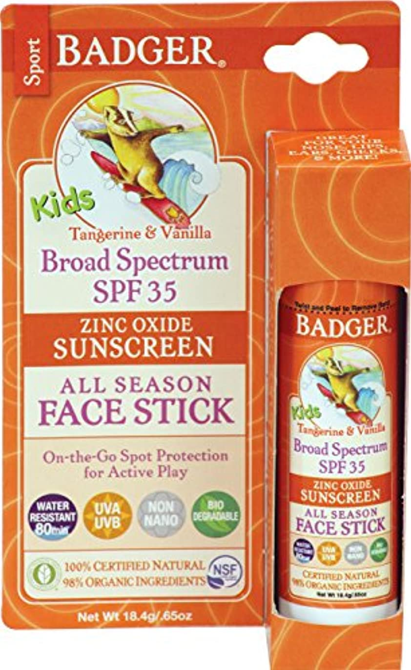 起点活発ペインティングBadger Company, Kids Sport Sunscreen All Season Face Stick, SPF 35, Tangerine & Vanilla, .65 oz (18.4 g)