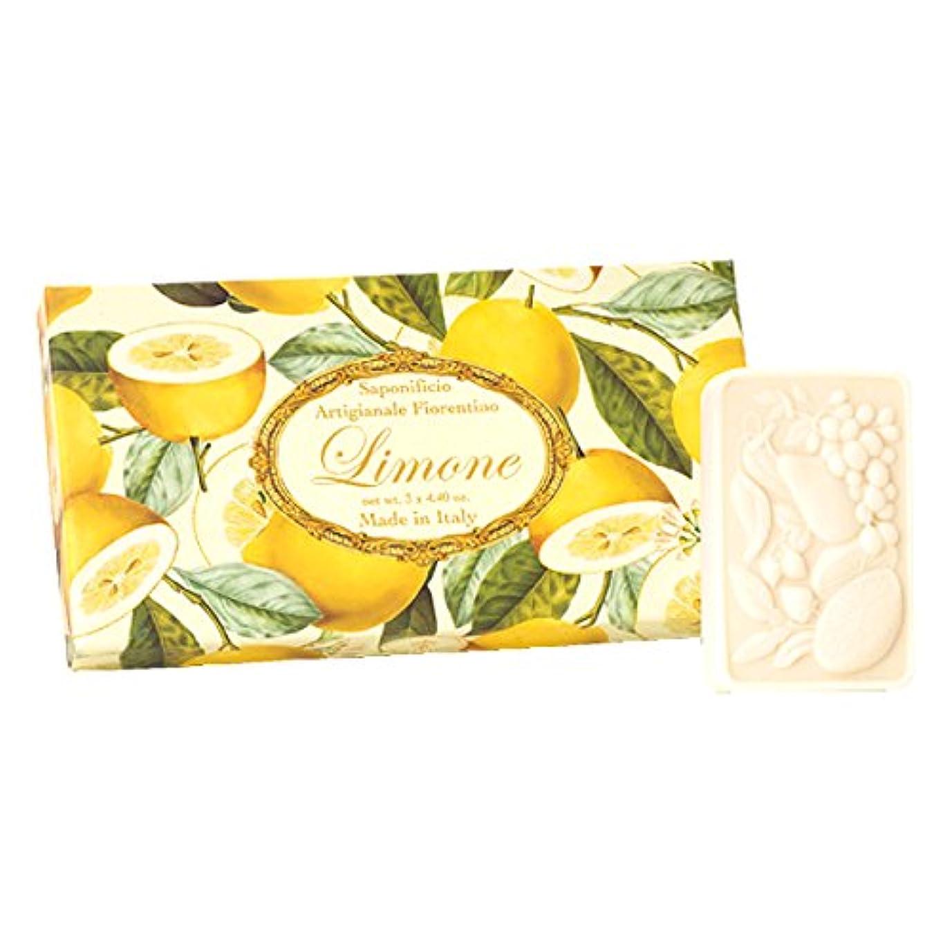 踏み台ストラップ石灰岩フィレンツェの 長い歴史から生まれたこだわり石鹸 レモン【刻印125g×3個セット】