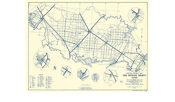 Amazon|古い郡マップ – San Patricio Co Texas Gen。Hwyマップby TX ...