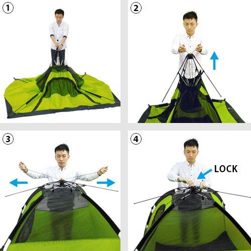クイックキャンプ ワンタッチテント 3人用 UVカット フルクローズ アウトドア フェス キャンプ用 サンシェード テント グリーン QC-OT210
