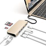Satechi 充電用パススルー Type C 4k HDMI出力 カードリーダー USB3.0ポートx3 マルチハブ ゴールド