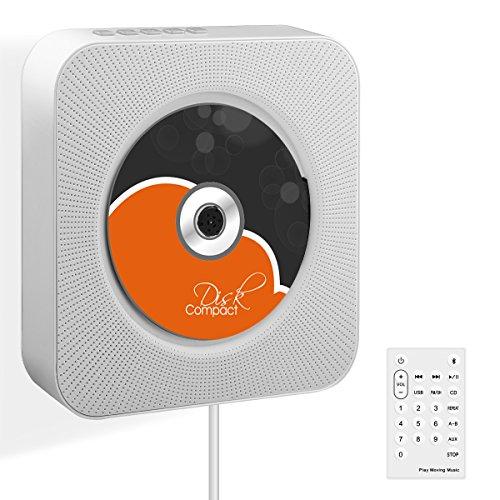 CDプレーヤー Wrcibo ポータブル 壁掛け式 CD再生 Bluetooth/FM/USB対応 リモコン付き スピーカー 小型 軽量 置き&掛け兼用 音楽再生/語学学習/胎児教育 (ホワイト)