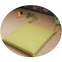 リネンオフィスの畳のクッションマット夏の通気性のシンプルな家庭食卓のクッション,スクエア[取り外し]ダークグリーン,直径50*50*厚4cm