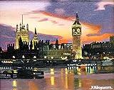 ◆中河原 英之【ビッグベンの夕暮れ】直筆油彩画 3号