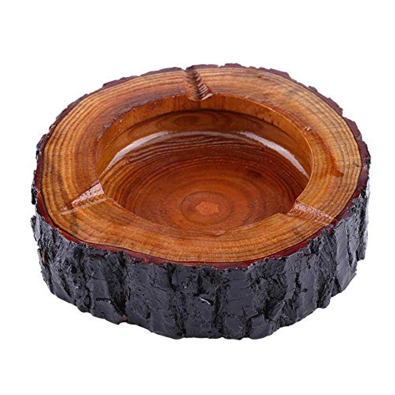 過言癒す悲鳴木製灰皿、大きな、小さな木、ユニークな手作り、ラウンド灰皿、装飾的な茶色の木のタバコの灰皿、外側と内側のクリスマスヴィンテージ灰皿 (Size : 11-12cm)