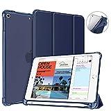 Fintie for iPad Mini 5 2019 ケース クリア 半透明 ソフト TPU バックカバー Apple Pencil 収納可能 ペンホルダー付き 衝撃吸収 軽量 超薄 三つ折 スタンド オートスリープ機能付き Apple iPad Mini 第5世代 7.9 インチ 2019 専用 保護カバー (モデル番号A2133、A2124、A2126、A2125) (ネイビー)