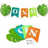1つバナーwith Palm Leaves、フェルトHighchairバナーの赤ちゃん男の子女の子最初誕生日装飾、高椅子インテリア、ハワイアンまたは恐竜ジャングルテーマ1st BirthdayパーティーSupplies