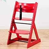 笑顔のダイニングベビーチェアー 木製椅子 安心強度の三角形ベース 【マジカルチェア】 レッド色
