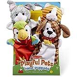 Melissa & Doug Playful Pets Hand Puppets, Puppet Sets (Rabbit, Parrot, Kitten, and Puppy, Soft Plush Material, Set of 4)