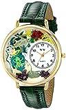 蛙 緑レザー ゴールドフレーム 時計 #G0140001
