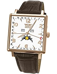 Davis-1736 トリプル日付とムーンフェイズメンズスクエア腕時計 Mens Rose Gold Square triple date and Moonphase watch-White dial-Brown leather strap