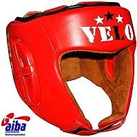 VELOオフィシャルAIBA承認ヘッドガードプロレザーボクシングヘッドガードのギア Red