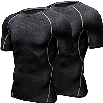 HONENNA 加圧インナー 2セット 加圧シャツ 着圧スポーツインナー メンズ 半袖 インナー 男性用機能性肌着 コンプレッションウェア 吸汗速乾 姿勢矯正 猫背解消 (M, ブラック)
