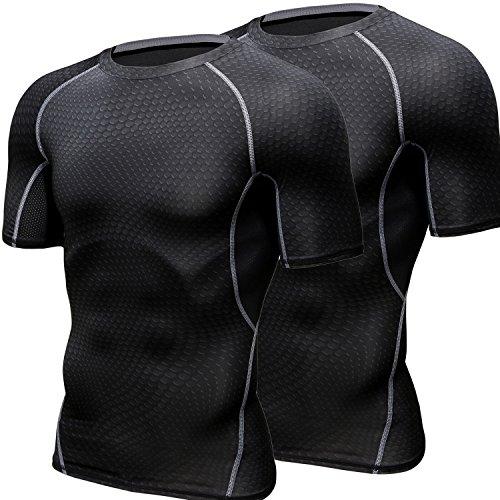 HONENNA 加圧インナー 2セット 加圧シャツ 着圧スポーツインナー メンズ 半袖 インナー 男性用機能性肌着 コンプレッションウェア 吸汗速乾 姿勢矯正 猫背解消 (XL, ブラック)