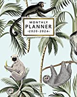 Monthly Planner 2020-2024: Five Year Monthly Agenda with 60 Months Spread View | 5 Year Organizer with To-Do's, Inspirational Quotes, Vision Boards, & Notes | Cute Jungle Monkey & Lemur Pattern