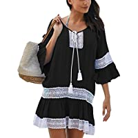Bsubseach Women Embroidered Half/Long Sleeve Swimsuit Cover Up Mini Beach Dress