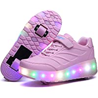 Kids Led Roller Shoes Retractable Skateboarding Rollerblades Unisex Roller Skate Shoes Double Wheel Roller Skate Shoes Vibration Illuminate Removable LED Light Up Roller Shoes