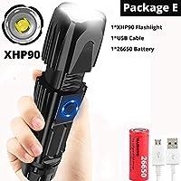 最も明るいXhp70.2高強力充電式懐中電灯Xhp90ランテルナライト18650または26650キャンプ狩猟ランプ、パッケージB-Xhp90