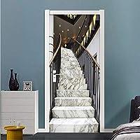 Xbwy 3Dステレオ大理石階段写真壁ステッカー壁紙リビングルーム研究ホテルスペース拡張壁画Pvc自己接着家の装飾-200X140Cm