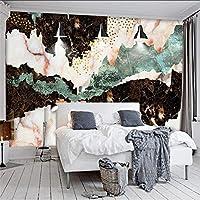 Xueshao 現代の抽象的なゴールデンマウンテン大理石のテレビの壁の大きな壁画の壁紙-350X250Cm